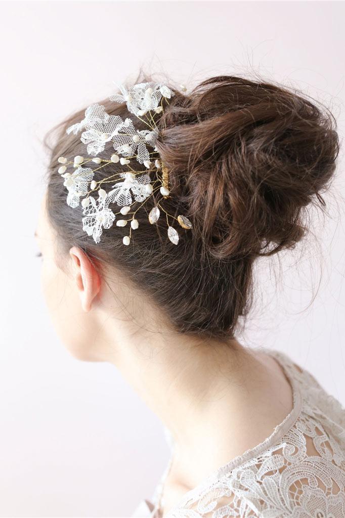 peigne mariage rétro avec dentelle perle & strass