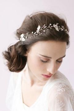 Bandeau mariée vintage avec strass & détails fleurs