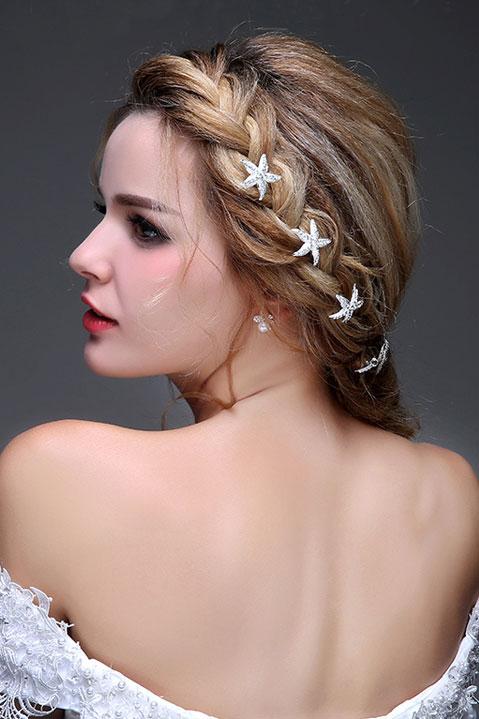 5 pics coiffe d'étoile de mer embelli de cristaux éclatants