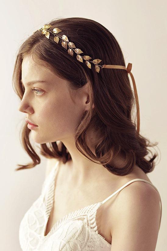 bandeau pour coiffure bohème chic en feuilles dorées