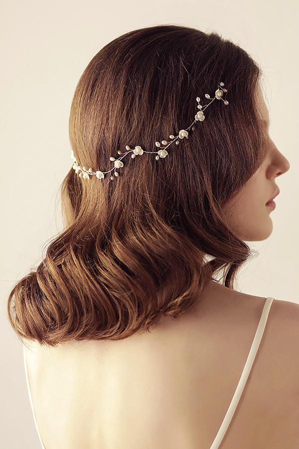 bandeau fleurette de mariée embelli de perles en filaments tressés