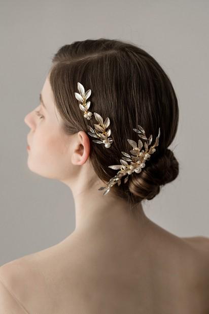 Kit coiffe pour mariée : double pics + peigne cheveux forme feuilles