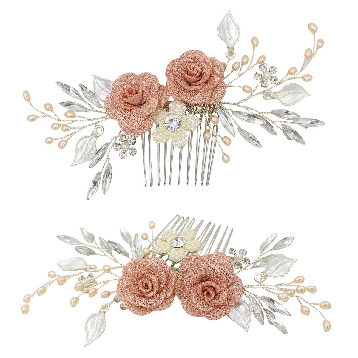 peigne mariée deux roses vintage