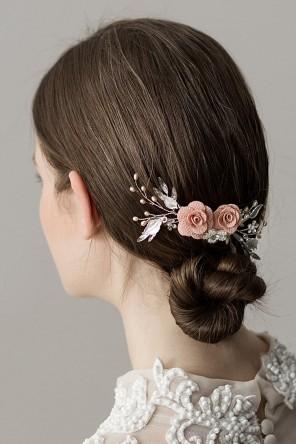 Peigne mariée vintage à double fleurettes perle rose champagne