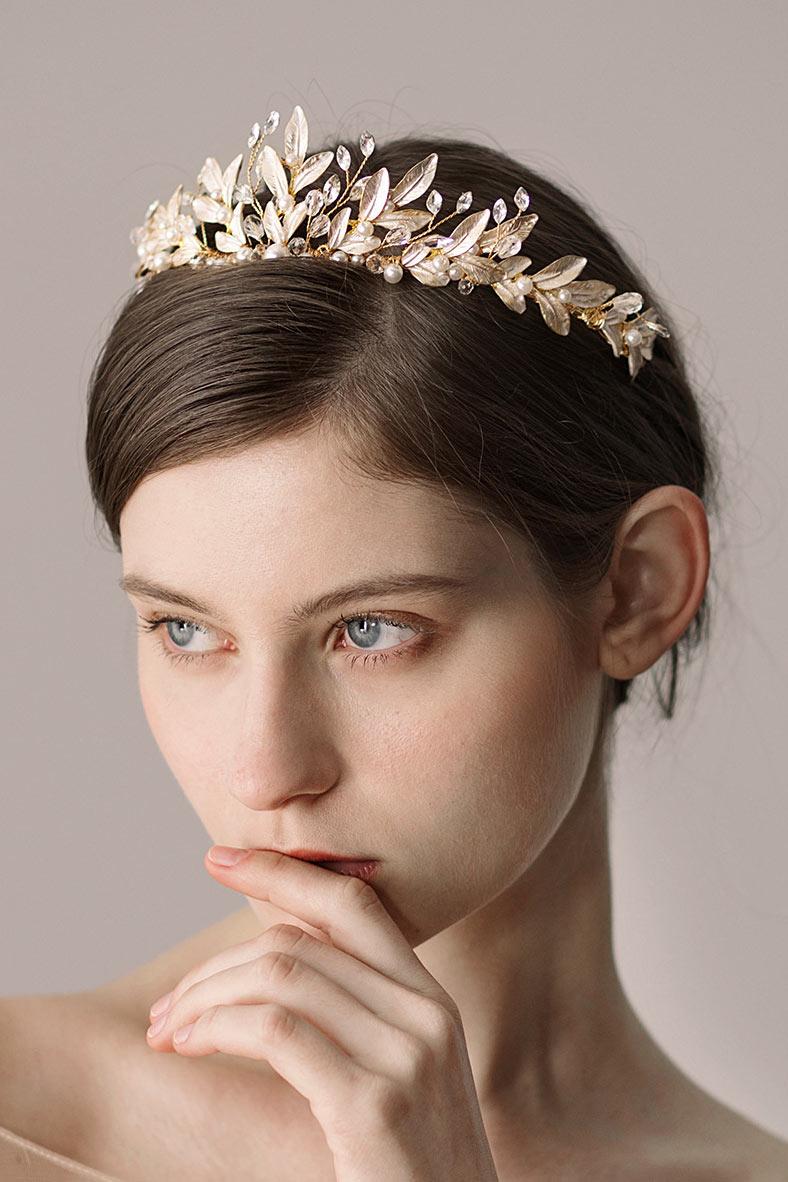diadème de mariée dorée argentée aux feuilles argentées