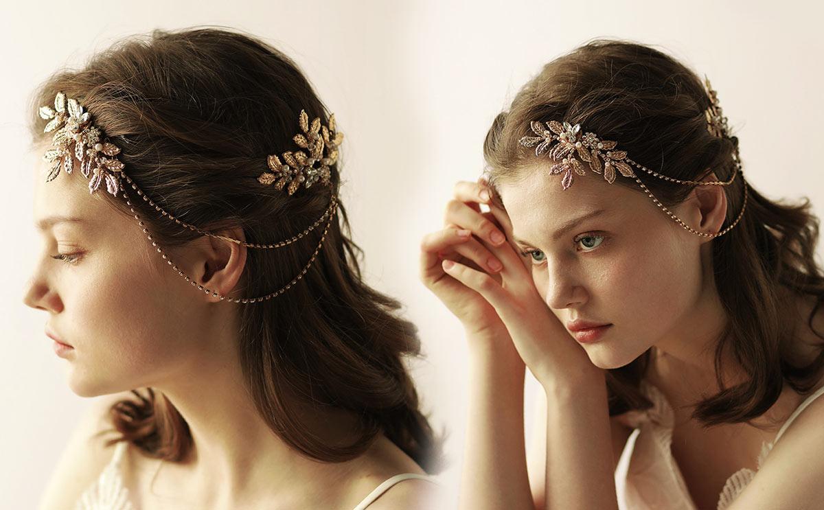 coiffe de la mariée bohème chic collier tête
