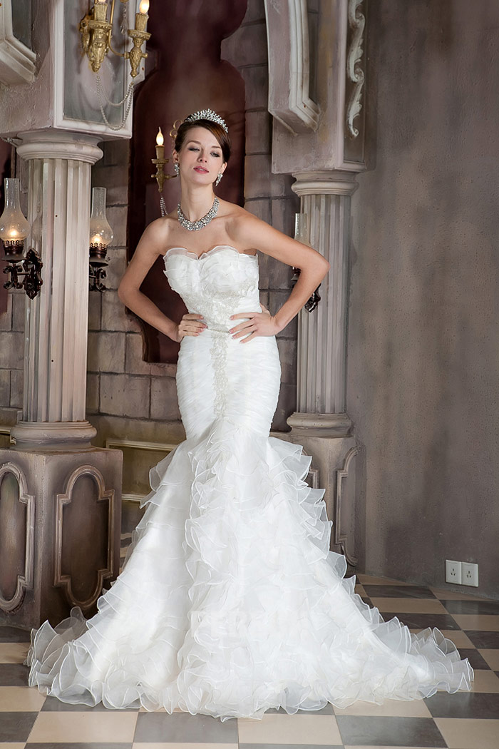 robe de mariage sirène organza bustier coeur à froufrou
