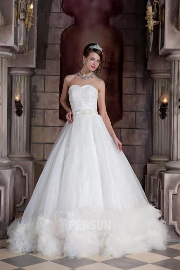 Magnifique Robe mariage princesse à ourlet plume