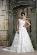Robe de mariage chic à encolure asymétrique