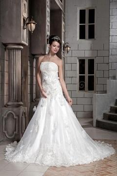 Robe de mariée longue à bustier droite en organza