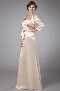 Robe de soirée bustier longue en satin élastique ornée de bijoux