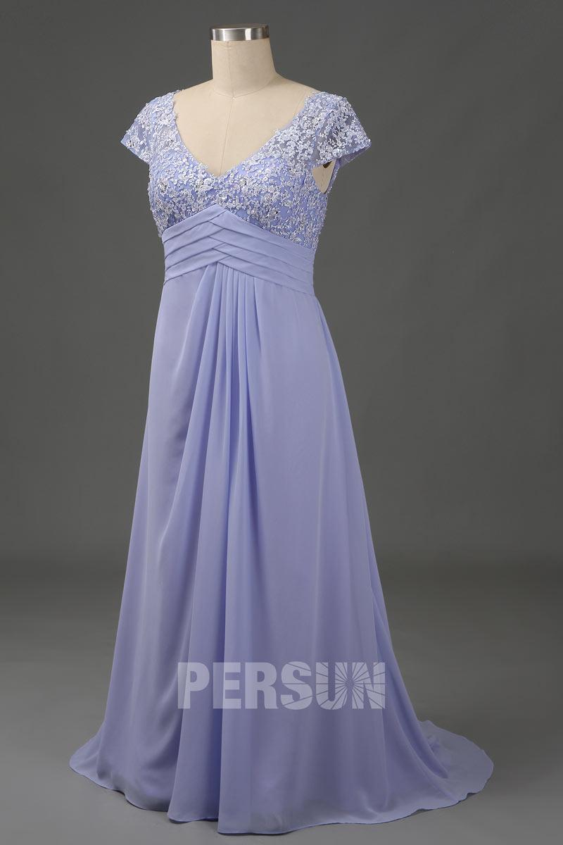 robe de soirée longue lavande col v en dentelle appliquée taille plissé mancheron