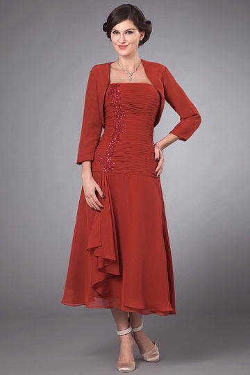 Robe mère de la mariée rouge bustier ruchée en mousseline