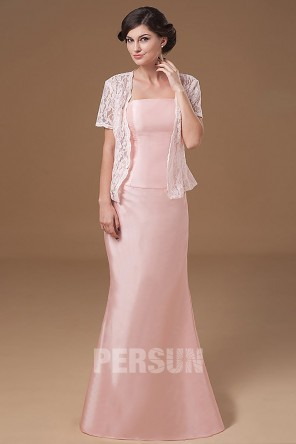 Robe de soirée rose poudré bustier droit en taffetas simple avec veste dentelle