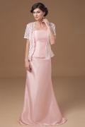 Robe de soirée rose bustier en taffetas simple et longue