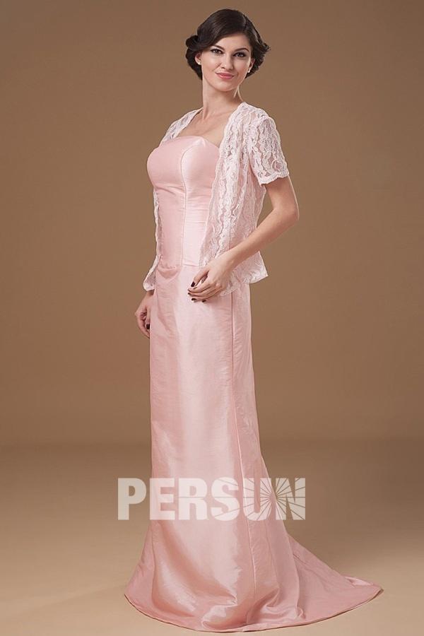 robe mère de mariée rose longue simple