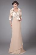 Feines Chiffon Perlen verziertes langes Abendkleid mit Jacke