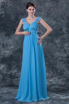 Robe de soirée bleu longue Empire ruchée ornée de bijoux
