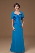 Robe mère de mariée bleu bustier cœur brodée de fleurs