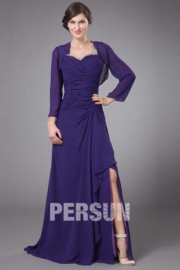 Elégante Robe fendue violette pour mère mariés plis ornée de paillettes