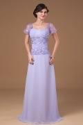 Classic Lavender Chiffon Square Embroidery Long Mother of The Brides Dress