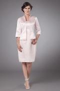 Robe pour mère de mariée bustier enveloppe dentelle en satin rose pâle