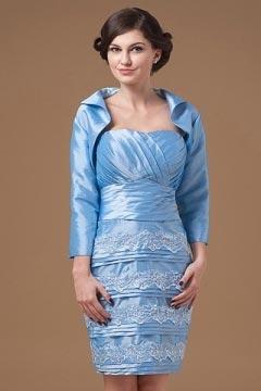 Robe mère de la mariée azurine bustier enveloppe plissage empiècement dentelle