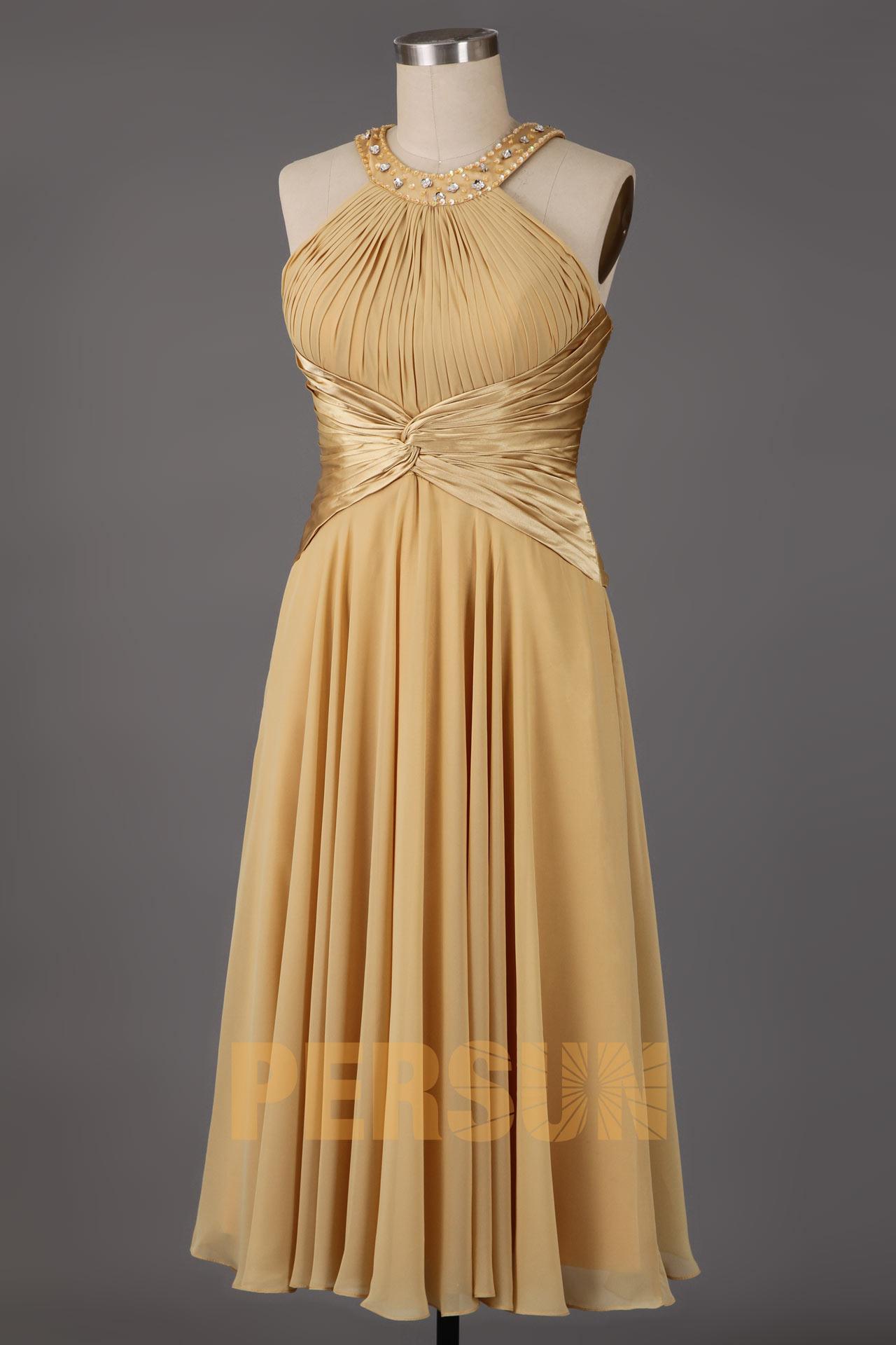 Robe de cocktail plissée avec bretelles tour de cou paillettées