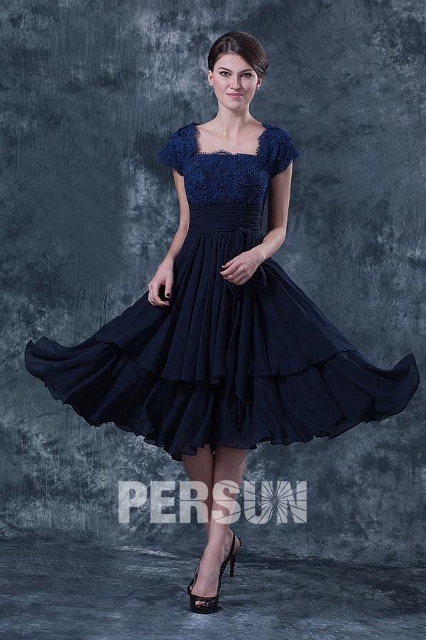 Elégante Robe dentelle bleu pour mère de mariés à mancherons