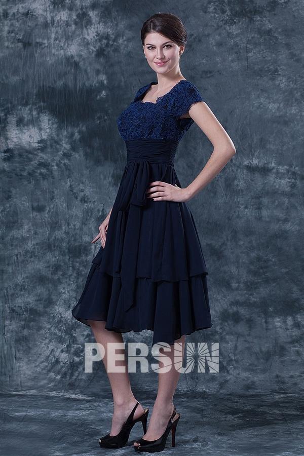 robe haut dentelle bleu marine pour mère de mariés à mancherons