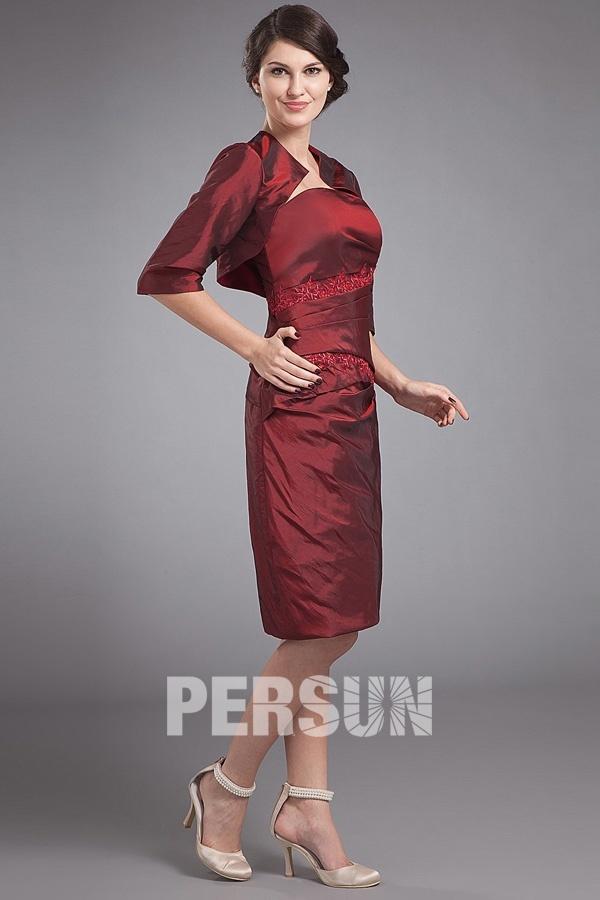 robe bordeaux courte bustier droit avec applique dentelle