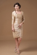 Figurbetontes Knielanges Perlen Brautmutterkleid aus Taft