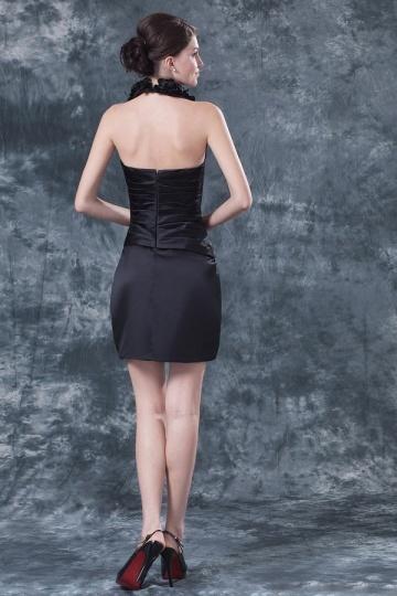 Petite robe noire mère de mariée col V ornée de fleurs - Persun.fr 4f214713ed6b