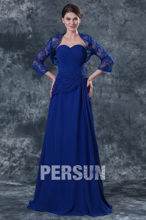 robe longue bleu roi bustier coeur avec boléro dentelle pour mère de mariée