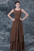 Simple Chiffon Brown Square A Line Evening Dress With Sleeves
