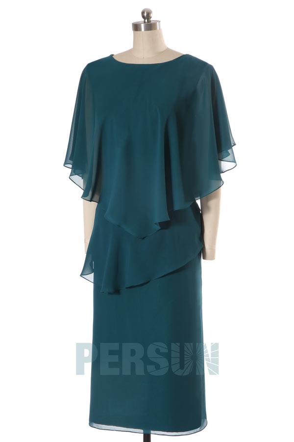 robe courte mère de la mariée vert sapin avec cape élégante