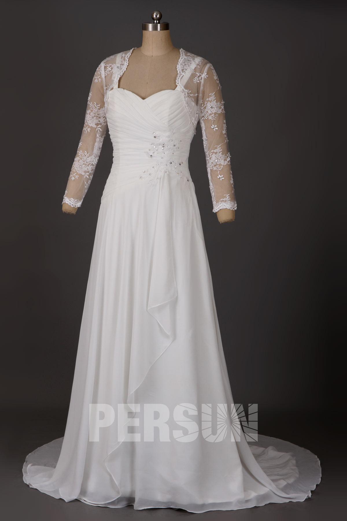Robe de mariée longue en mousseline avec boléro dentelle