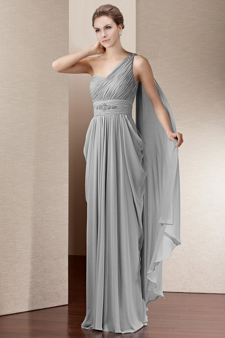 Robe de soirée asymétrique drapé dans le dos mousseline gris argenté