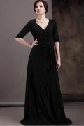 Robe mère de mariée simple col en v enveloppé ceinture longue en Mousseline