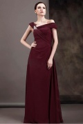 Robe mère de la mariée encolure asymétrique Ligne A ornée de bijoux