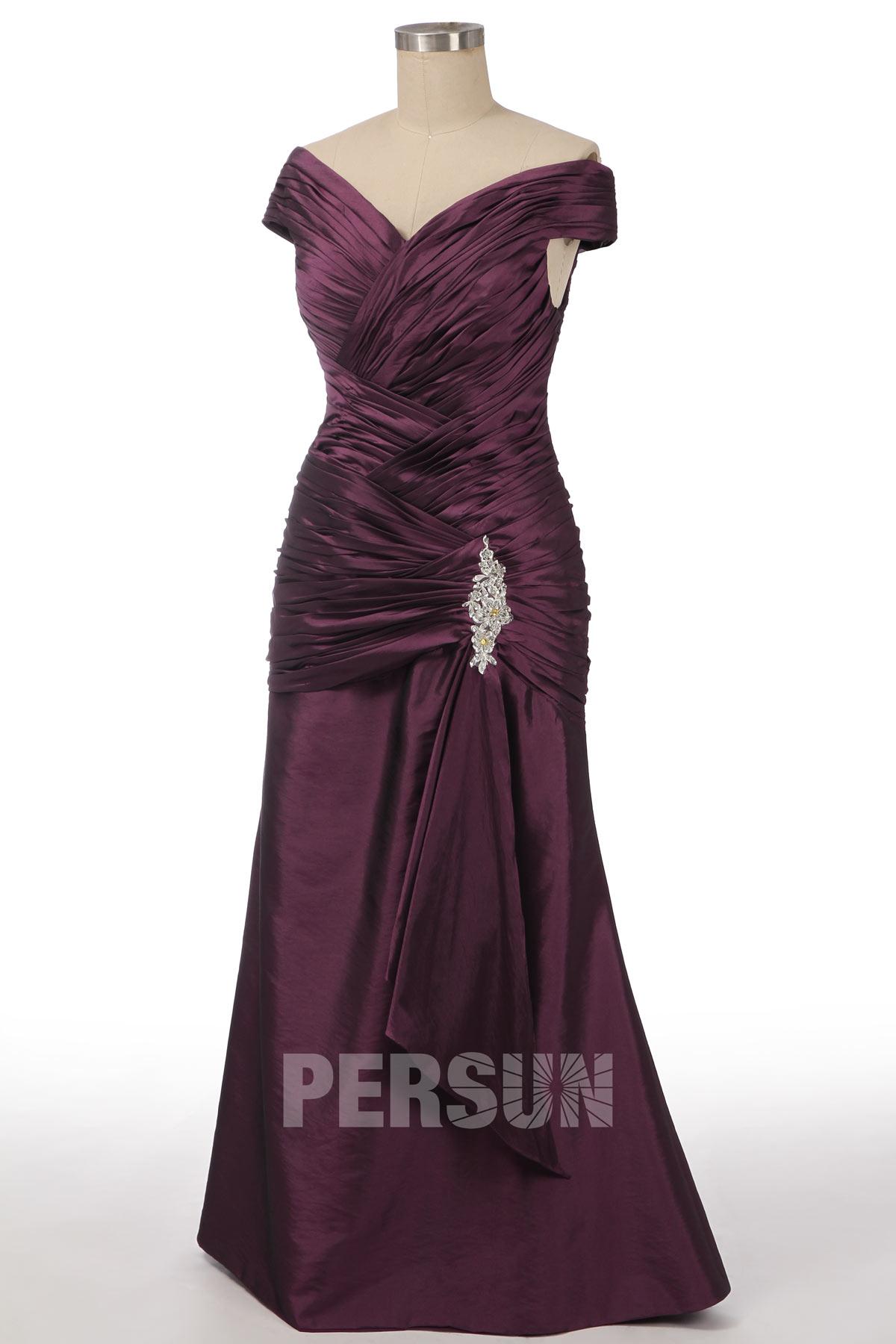 robe de soirée trompette prune épaule dénudée plissé