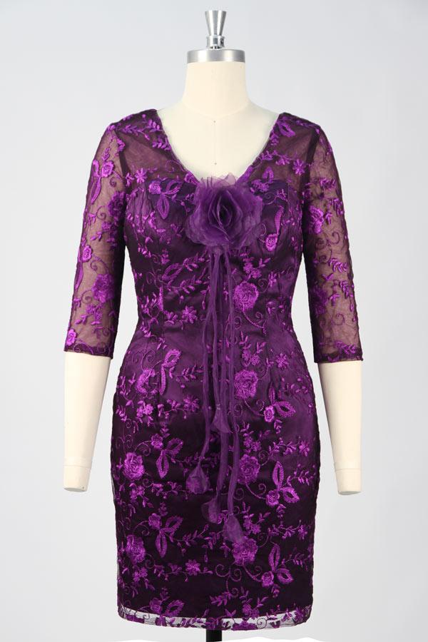 robe mère mariée courte violette brodé de fleurs à manches illusion