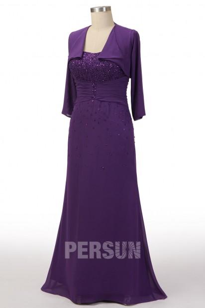 robe mère de mariée améthyste élégante orné de strass avec boléro