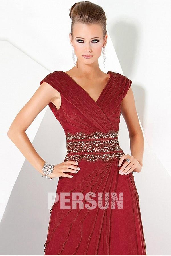 Robe soirée rouge longue encolure V style empire