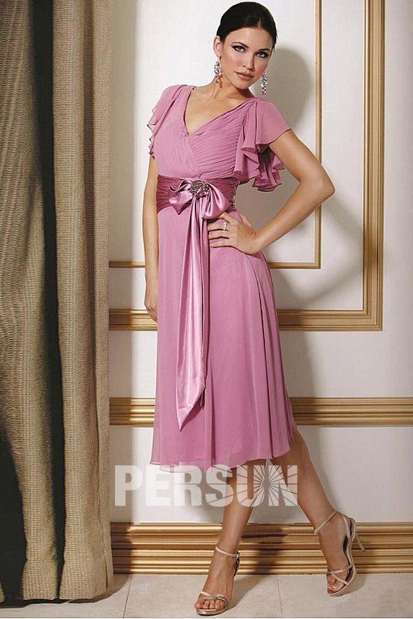 acheter robe rose de cocktail courte avec noeud papillon à prix bas