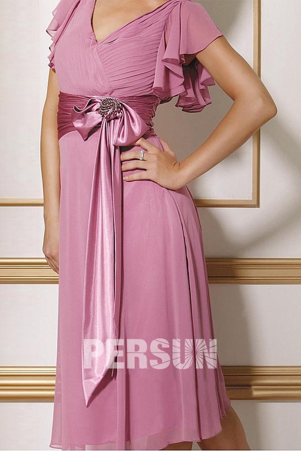 acheter robe demoiselle d'honneur rose courte col v noeud devant à prix bas