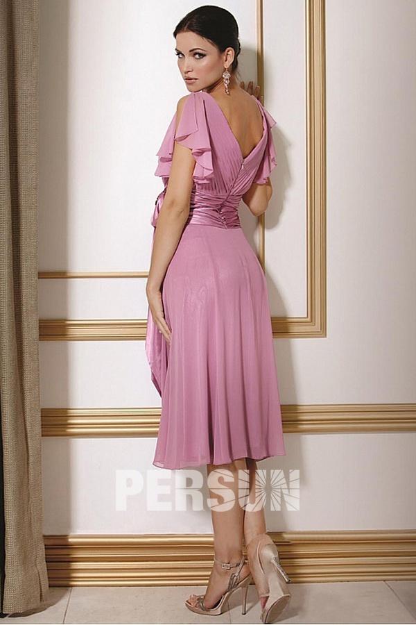 boutique robe rose décolleté v dos manche papillon ceinture large à prix bas