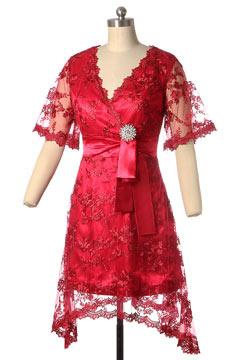 Robe mère de mariée col en v enveloppé festonné ceiture ornée du bijoux en dentelle