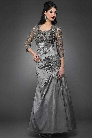 robe de soirée grise sirène avec manche