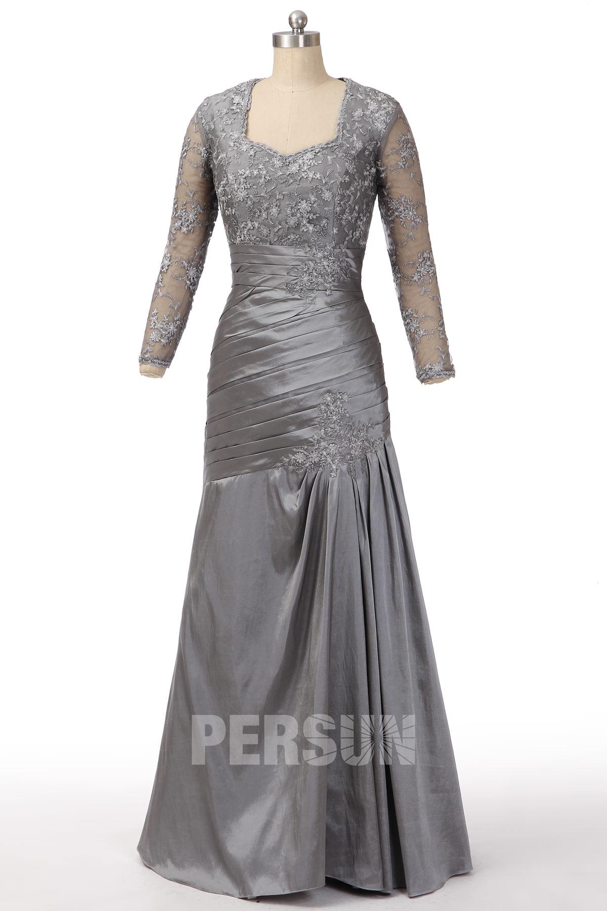 Vintage robe de soirée taffetas gris foncé trompette manches dentelle